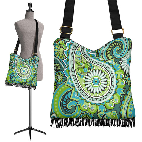 Image of Green Paisley Crossbody Boho Handbag