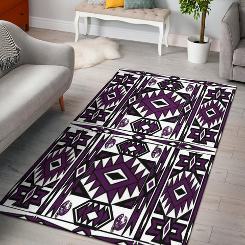 Native Stylish Area Rug Great for any Room Black Bottom  (purple)