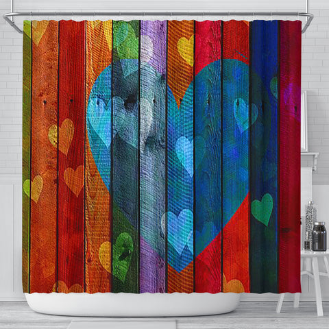 Image of Shower Curtain ~ Wooden Hearts