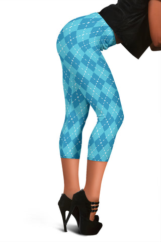 Image of Blue Argyle Womens Capris