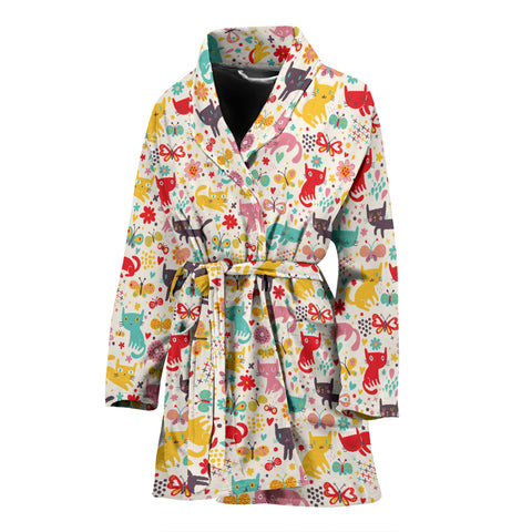 Image of Butterfly Cat Women's Bath Robe