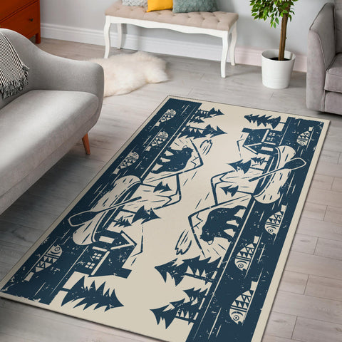 Cabin Lake Lodge Area Rug, Fishing Rug, Bear Rug