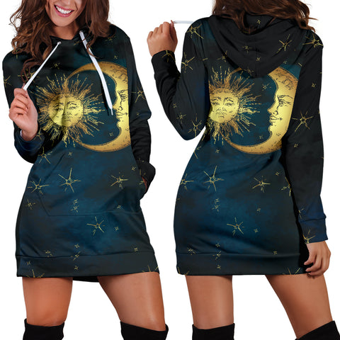 Image of Gold Sun and Moon Hoodie Dress
