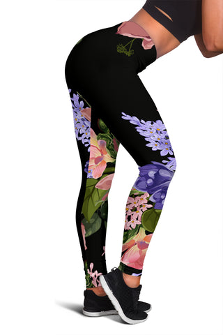 Lilac Roses | Black Leggings