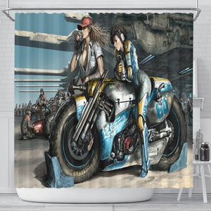 Fantasy Motorbike Girls Shower Curtain