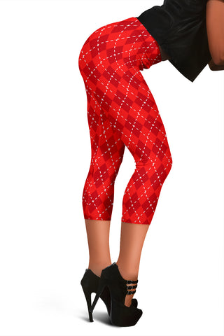 Red Argyle Womens Capris