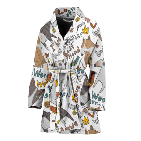 Image of I Love My Bull Terrier Ladies Bath Robe