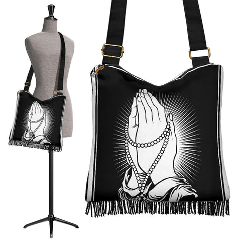 Image of Jesus Prays For Us Crossbody Boho Handbag