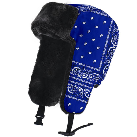 Image of Crip Blue Bandanna Trapper Hat