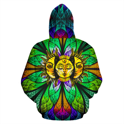 HandCrafted Colorful Sun Moon Hoodie