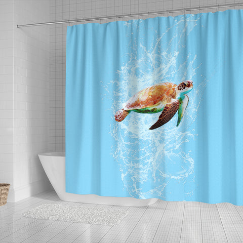 Shower Curtain Turtle Swimming