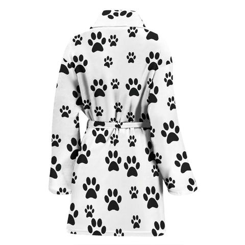 Image of Women's bath robe paw prints