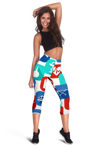 Nurse Medical Pattern Capris Leggings