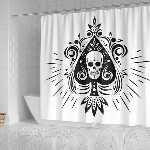 Skull Tattoo Design White Shower Curtain