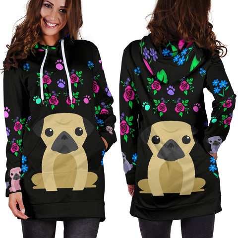Image of Charming Pugs Hoodie Dress with Cute Pug Dogs