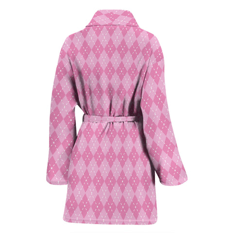 Image of Pink Argyle Womens Bathrobe