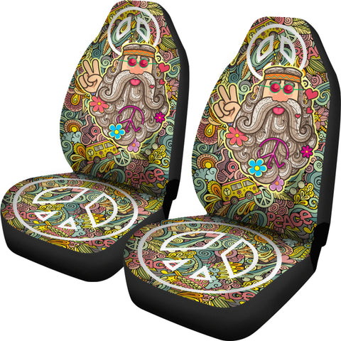 Image of Love Peace Hippie Car Seat Covers