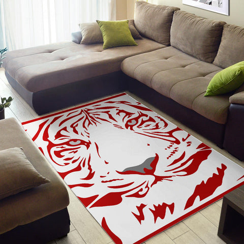 Red-Tiger-001 White Area Rug