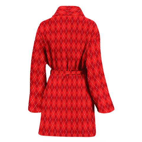 Image of Red Argyle Womens Bathrobe