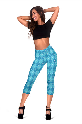 Blue Argyle Womens Capris