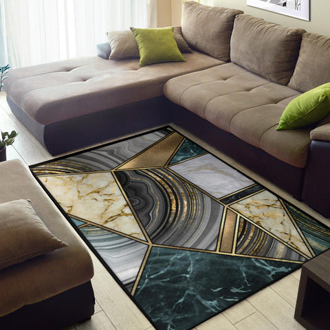 Image of Faux Marble Geometric Rug