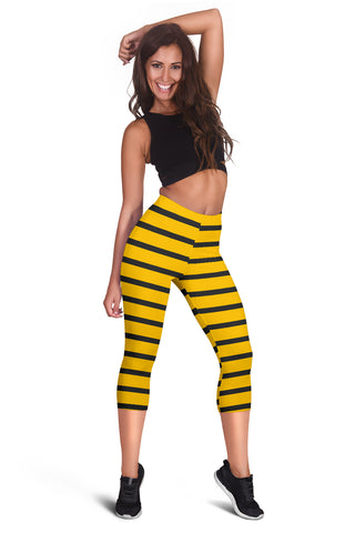 Minimal Yellow Bee Women's Capris Leggings
