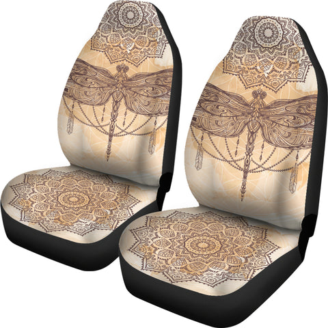 Image of Beige Dragonfly Mandala Car Seat Covers