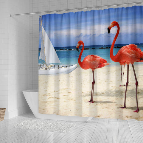 Beach and Flamingos Shower Curtain