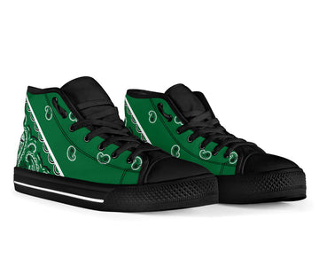 No Box Classic Green Bandana High Top Sneakers