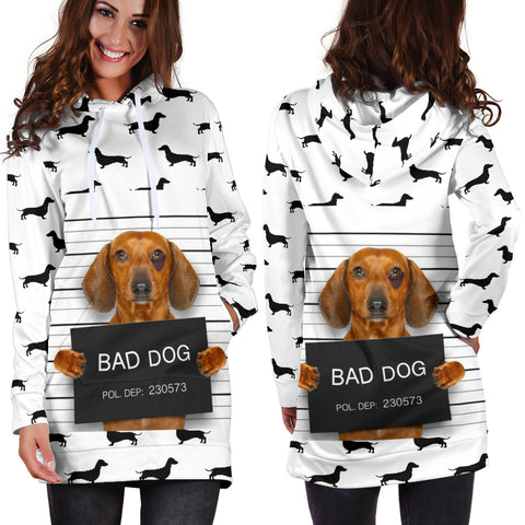 Image of Bad Doxie Dog - Cute Dachshund Hoodie Dress For Women