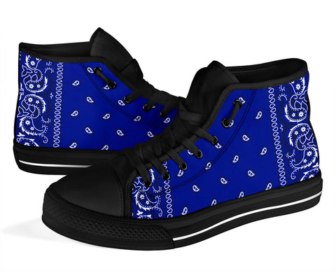 Blue Crip Bandana Style High Top Sneakers - Black Sole