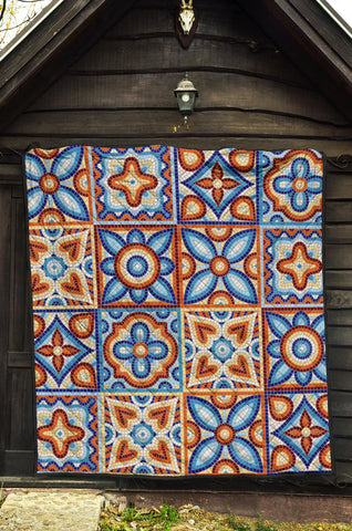 Ancient Mosaic Ceramic Tile Pattern Quilt