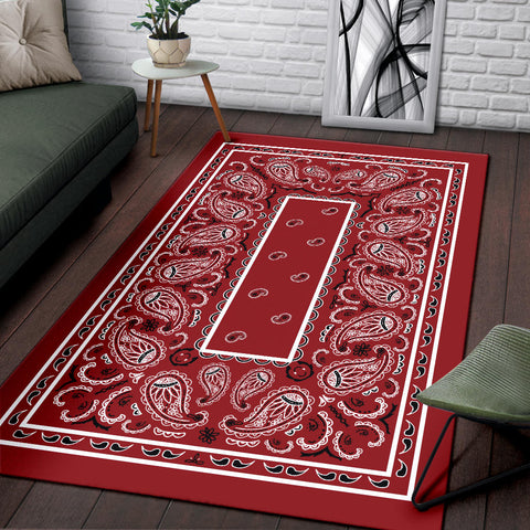 Image of Classic Red Bandana Area Rugs - Fitted