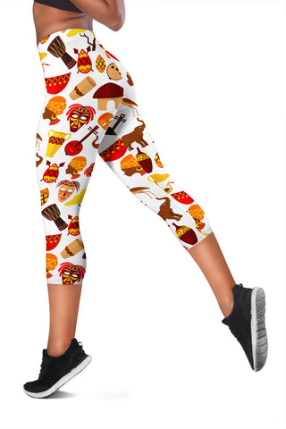 Image of African Ethnic Tripe Women's Capris Leggings