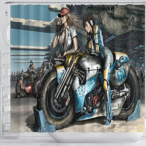 Image of Fantasy Motorbike Girls Shower Curtain