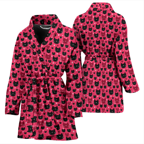 Image of Red & Black Cat Women's Bath Robe