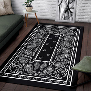 Black Bandana Area Rugs - Fitted