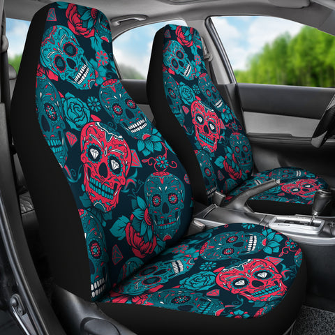 Image of Red & Blue Sugar Skull Car Seat Covers