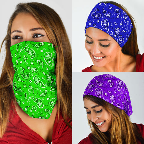 Image of Neck Gaiter Face Mask Classic Bandana Design 3-Pack Purple, Green, Blue