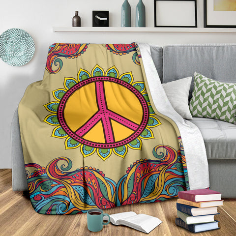Image of Yellow Hippie Peace Blanket