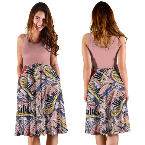 Image of Funky Patterns in Pinks 2Tone - Women's Midi Dress