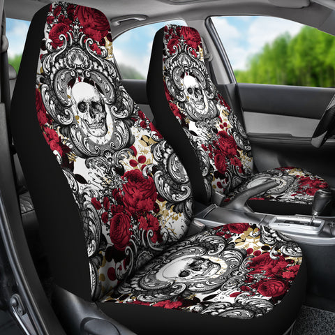 Image of Gothic Skull and Red Roses Universal Bucket Seat Covers
