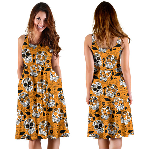 Image of Orange Sugar Skull Dress