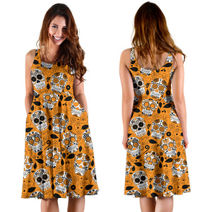 Orange Sugar Skull Dress