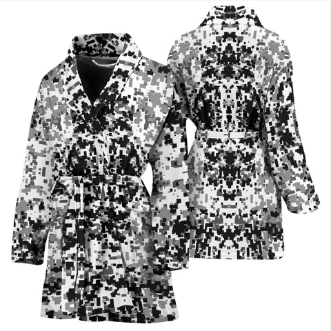 Image of Digital Camouflage Black & White Womens Bath Robe