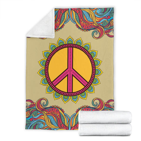 Yellow Hippie Peace Blanket