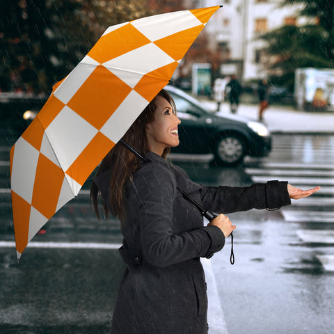 White and Orange squares Umbrella