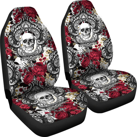 Gothic Skull and Red Roses Universal Bucket Seat Covers