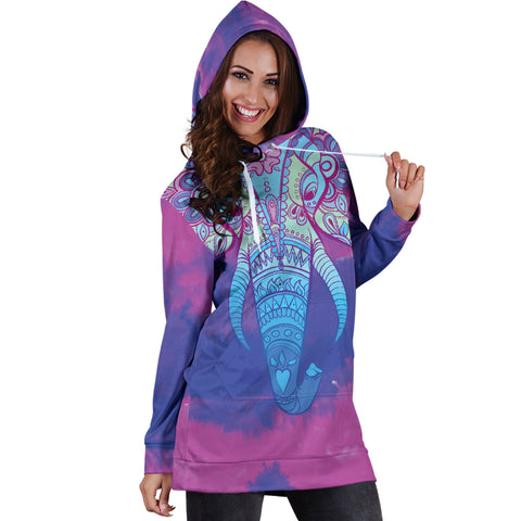 Image of Colorful Elephant Women's Hoodie Dress