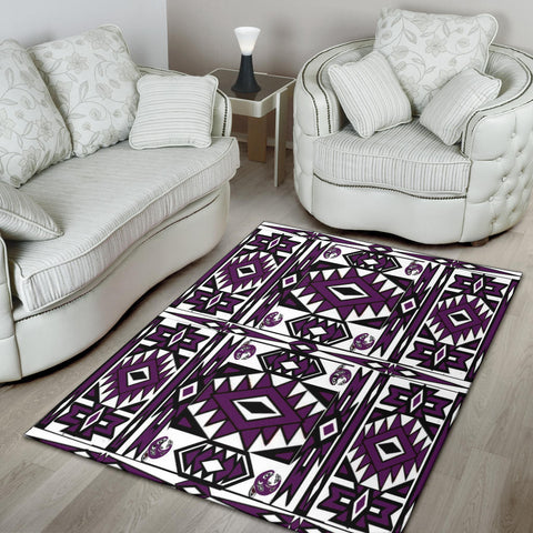 Image of Native Stylish Area Rug Great for any Room Black Bottom  (purple)